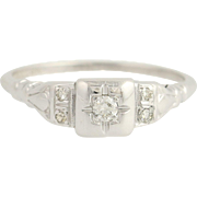 Art Deco Diamond Ring - 18k White Gold Vintage Engagement Women's Euro Cut 0.09