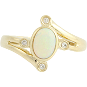 Opal & Diamond Bypass Ring - 14k Yellow Gold Women's Oval Solitaire 0.54ctw