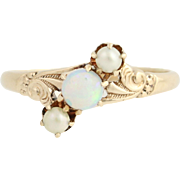 Victorian Pearl & Opal Ring - 10k Yellow Gold Women's 3-Stone Antique Ornate