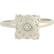 Vintage Diamond Ring - 14k White Gold Women's Engagement Statement 0.17ctw
