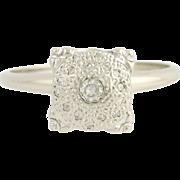 Vintage Diamond Ring - 14k White Gold Women's Engagement Statement 0.17ctw