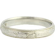 Art Deco Etched Wedding Band - 18k White Gold Vintage Ring Ostby & Barton