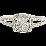 Diamond Flower Halo Engagement Ring - 14k White Gold Unique Design 0.33ctw