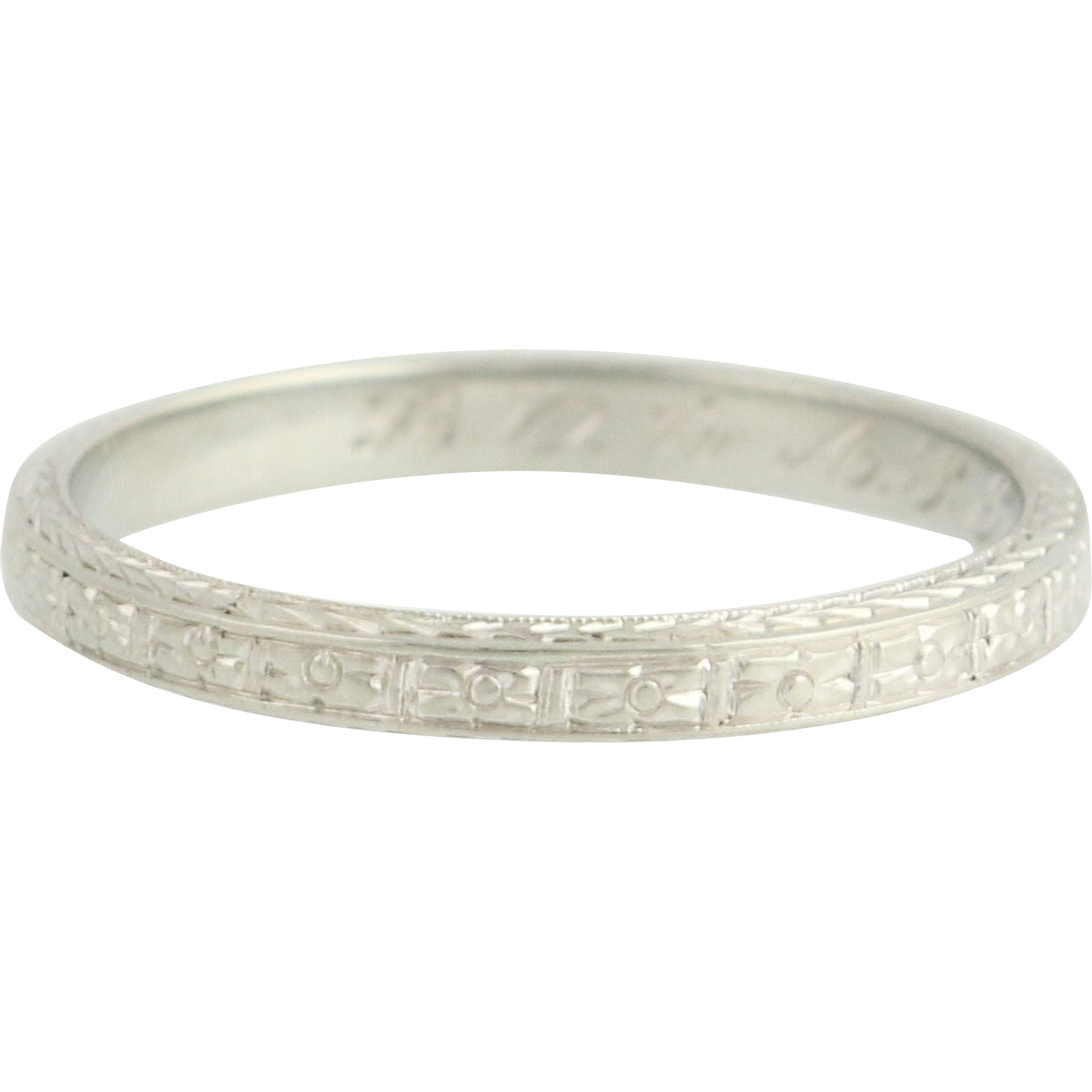 Floral Art Deco Wedding Band - 18k White Gold Women's Ring Vintage 6.5 Flowers