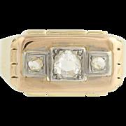 Men's Art Deco Diamond Ring - 18k Yellow White Gold 3-Stone Wedding Band 0.64ctw