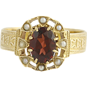 Victorian Garnet Flower Ring 14k Yellow Gold Seed Pearls Antique Women's 1.40ct