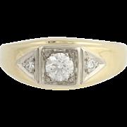Diamond Ring - 14k Yellow & White Gold Size 9 1/2 Men's 0.56ctw