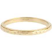 Art Deco Wedding Band - 14k Yellow Gold Etched Milgrain Women's Vintage Ring