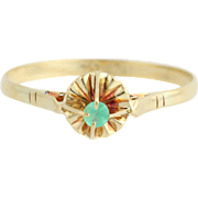 Emerald-Accented Ring - 18k Yellow Gold May Birthstone Solitaire .05ct