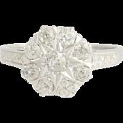 Diamond Flower Star Ring - 14k White Gold Art Deco Vintage .81ctw 1920s-30s