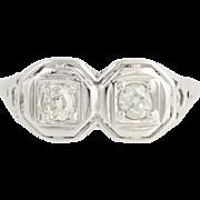 Art Deco 2-Stone Diamond Ring - 18k White Gold Filigree Women's Vintage 0.40ctw