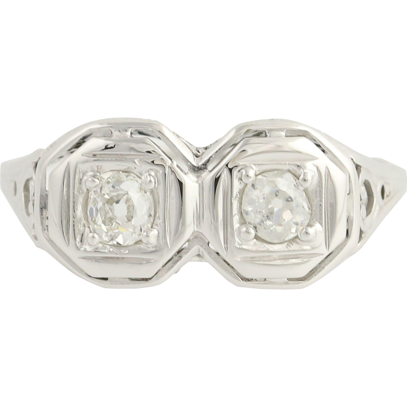 Art Deco 2-Stone Diamond Ring - 18k White Gold Filigree Women's Vintage 0.40ctw