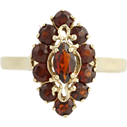 Garnet Halo Ring - 14k Yellow Gold Women's Vintage Marquise 1.10ctw