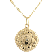 "Edwardian Locket Pendant Necklace - 14k Yellow Gold Diamond 24.5"" Chain Antique"