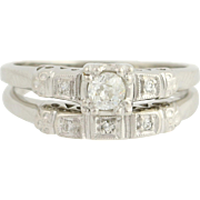 Art Deco Diamond Engagement Ring & Wedding Band - 900 Platinum Vintage .19ctw