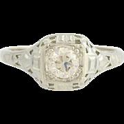 Art Deco Diamond Engagement Ring - 14k Gold Vintage European Cut Solitaire .55ct