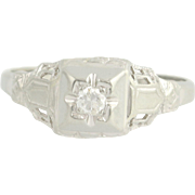 Art Deco Diamond Ring - 18k White Gold European Cut Solitaire Vintage .08ct
