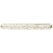 Vintage Floral Filigree Bar Brooch - 10k White Gold Euro Cut Diamond Pin