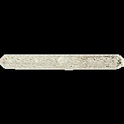 Vintage Floral Filigree Bar Brooch - 10k White Gold Euro Cut Diamond Pin