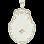 Art Deco Camphor Glass Pendant - Diamond Filigree 10k White Gold Vintage