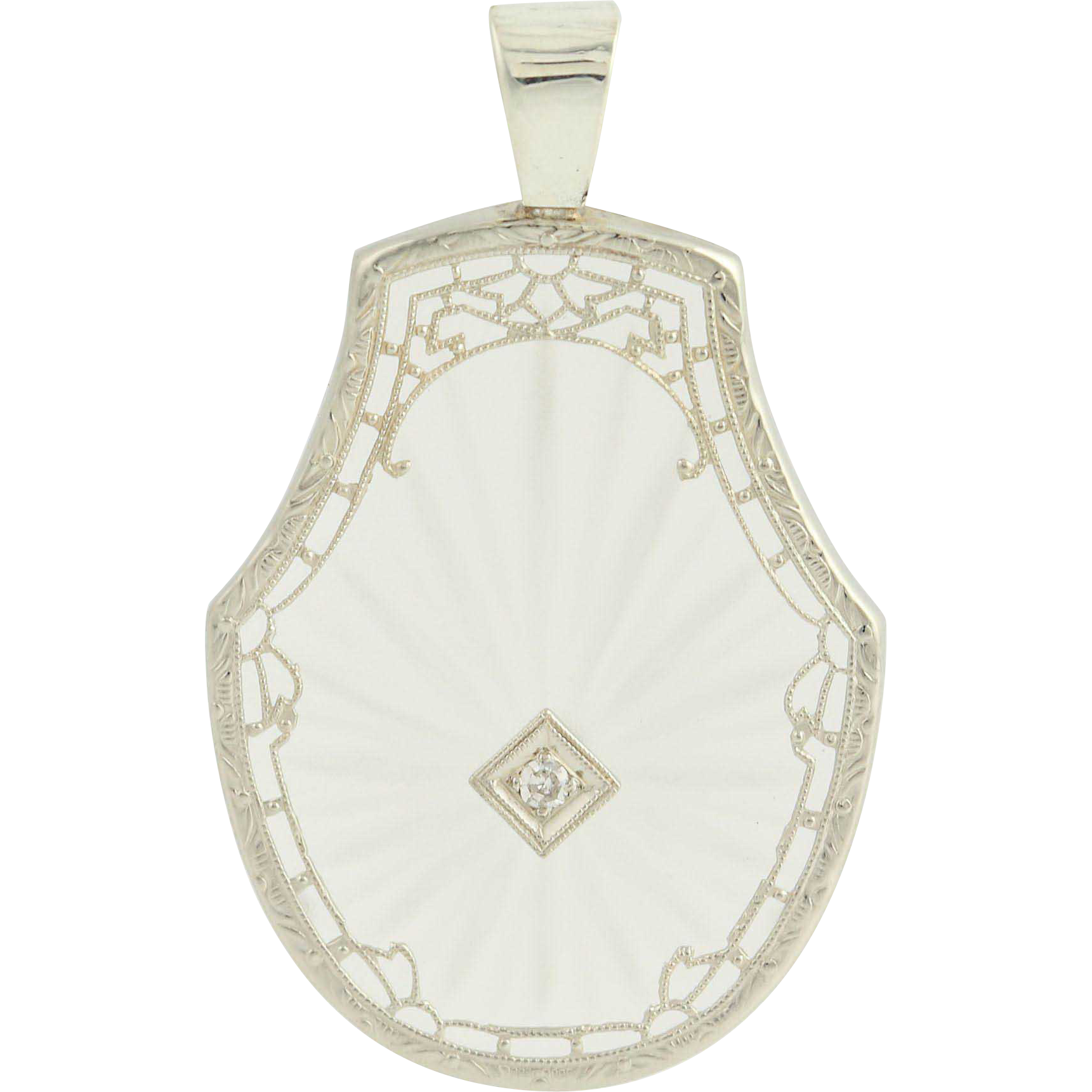 Art Deco Camphor Glass Pendant - Diamond Filigree 10k White Gold Vintage