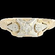 Art Deco Diamond Ring - 14k Yellow 18k White Gold Mine Cut Solitaire Engagement