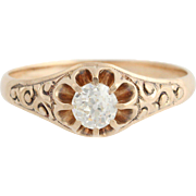 Edwardian Diamond Engagement Ring - 10k Rose Gold Scroll Work Antique Round 0.48
