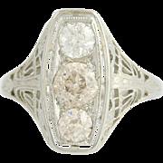 Art Deco Diamond Ring - 18k White Gold Filigree Vintage Women's 3-Stone 1.13ctw