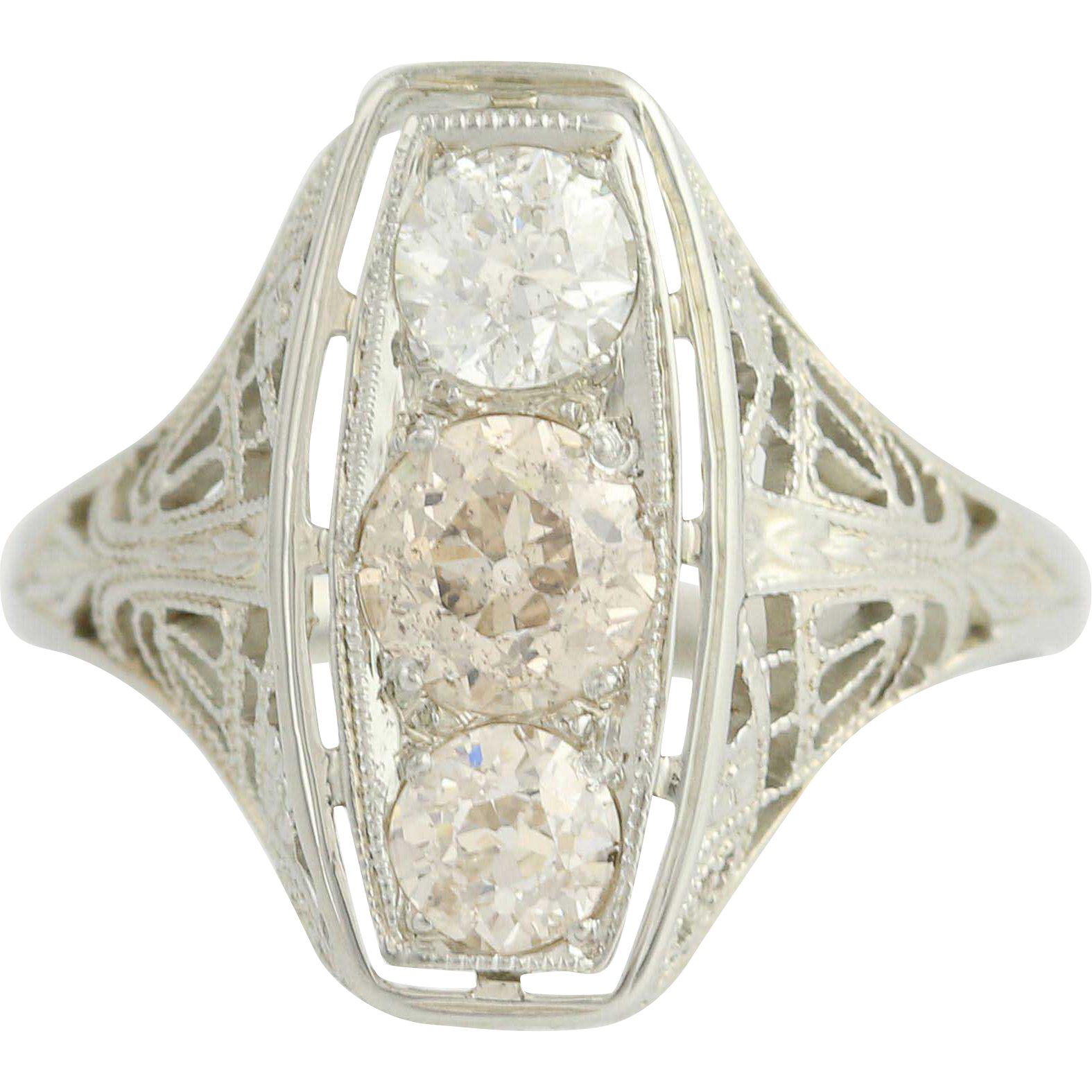 Art Deco Diamond Ring - 18k White Gold Filigree Vintage Women's 3-Stone 1.13ctw