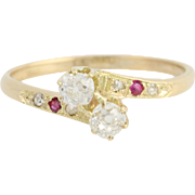 Art Deco Diamond Bypass Ring - 14k Yellow Gold Ruby Accents Vintage 0.41ctw