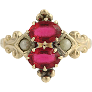 Victorian Red Glass & Seed Pearl Ring - 10k Yellow Gold Ostby & Barton Antique