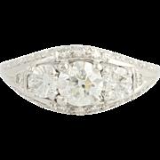 Art Deco 3-Stone Diamond Ring 18k White Gold Engagement Women's Vintage 1.27ctw