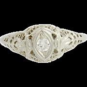 Art Deco Diamond Engagement Ring 18k White Gold Filigree Women's Vintage 0.14ct