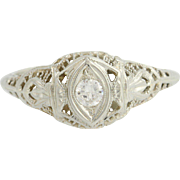 Art Deco Diamond Engagement Ring 18k White Gold Filigree Women's Vintage 0.14ct