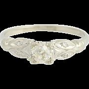 Art Deco Diamond Engagement Ring 14k White Gold Women's Vintage Mine Cut 0.40ctw