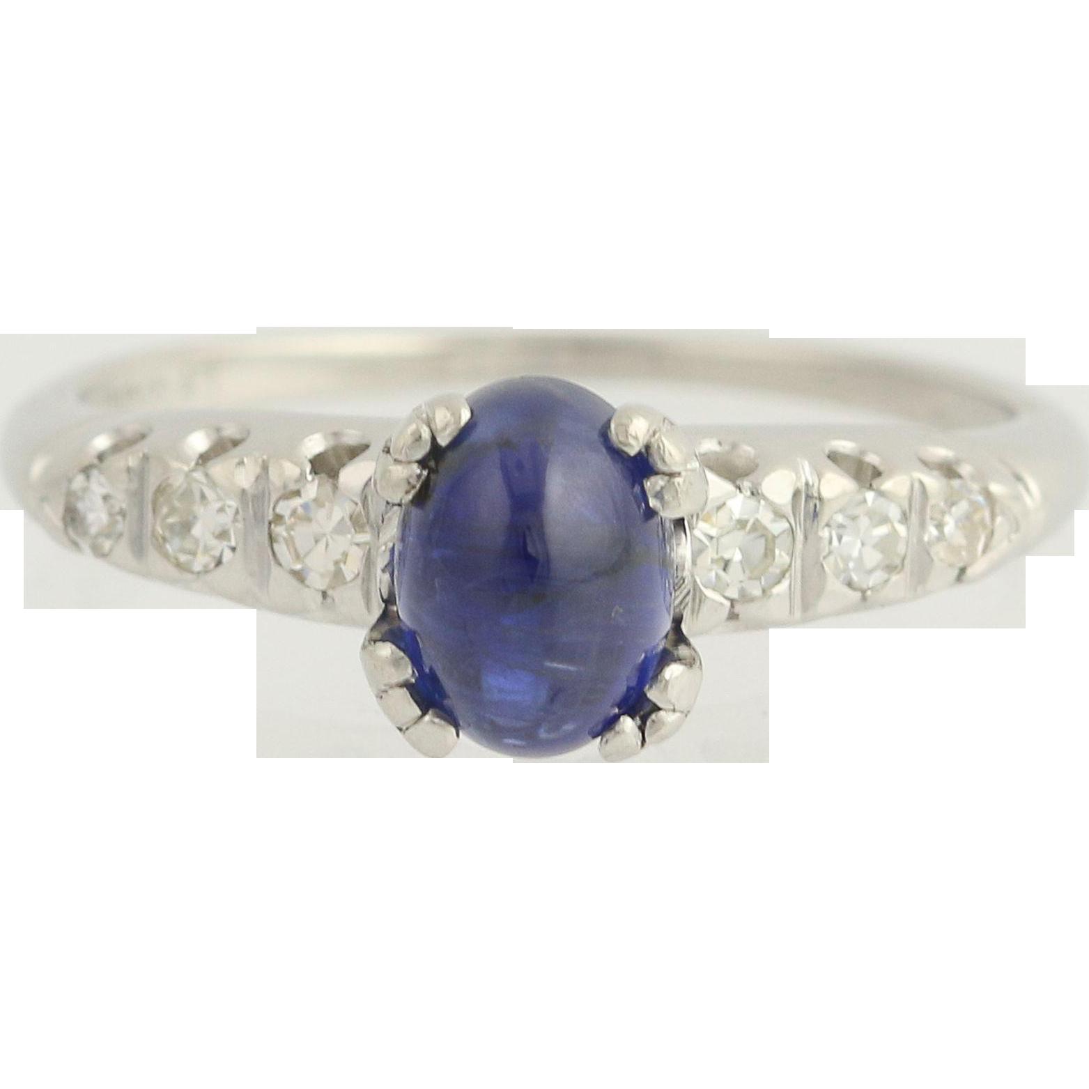 Art Deco Cabochon Blue Sapphire Ring - 900 Platinum Diamonds Vintage Engagement