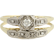 Diamond Engagement Ring & Wedding Band - 14k Yellow White Gold Retro Vintage Set