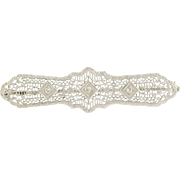Art Deco Diamond Bar Brooch - 10k White Gold Filigree Vintage Pin