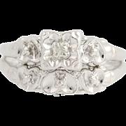 Diamond Engagement Ring & Wedding Band - 14k White Gold Vintage Hearts Women's