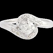 Vintage Diamond Bypass Ring - 14k White Gold .24ctw