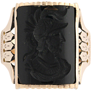 Victorian Onyx Intaglio Ring - 10k Yellow Gold Men's Antique Ring Size 10