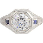 Art Deco CZ & Synthetic Sapphire Ring - 18k White Gold Men's Vintage Ornate