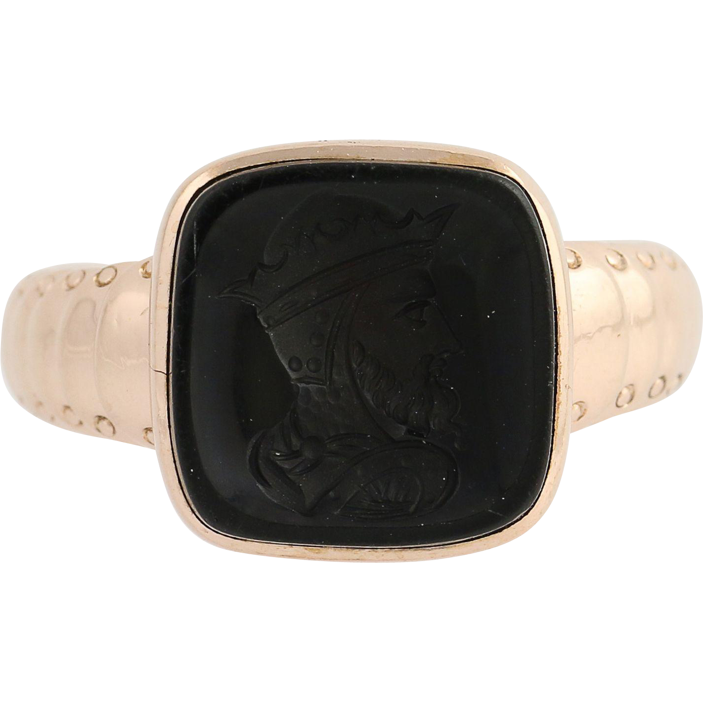 Carved Onyx Intaglio Ring - 10k Rose Gold Victorian 1800s Antique Black Stone