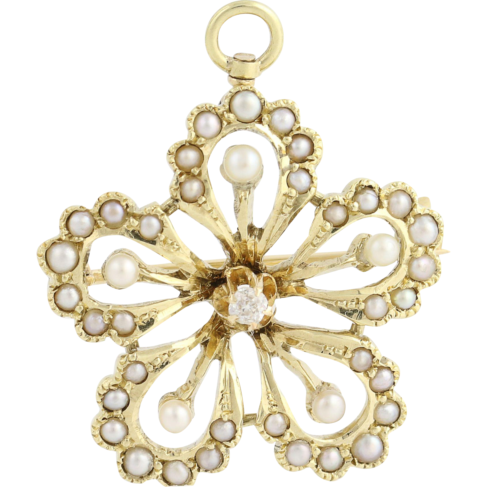 Edwardian Flower Brooch - 14k Yellow Gold Pearls & Diamond Pin Antique Floral