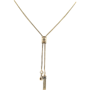 Vintage Watch Chain Necklace - 14k Yellow Gold Slide Pendant Adjustable Length