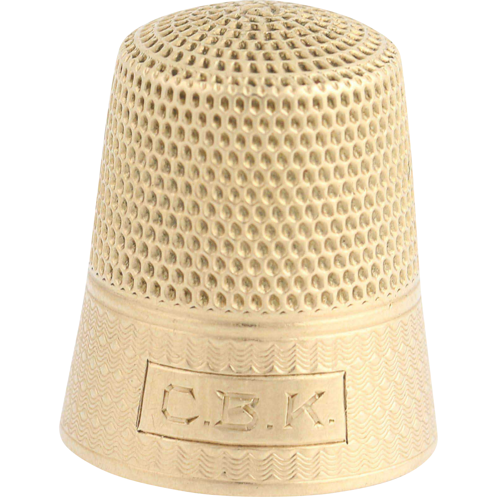 Vintage Thimble - 10k Yellow Gold Engraved Initials Sewing Accessory Size 10