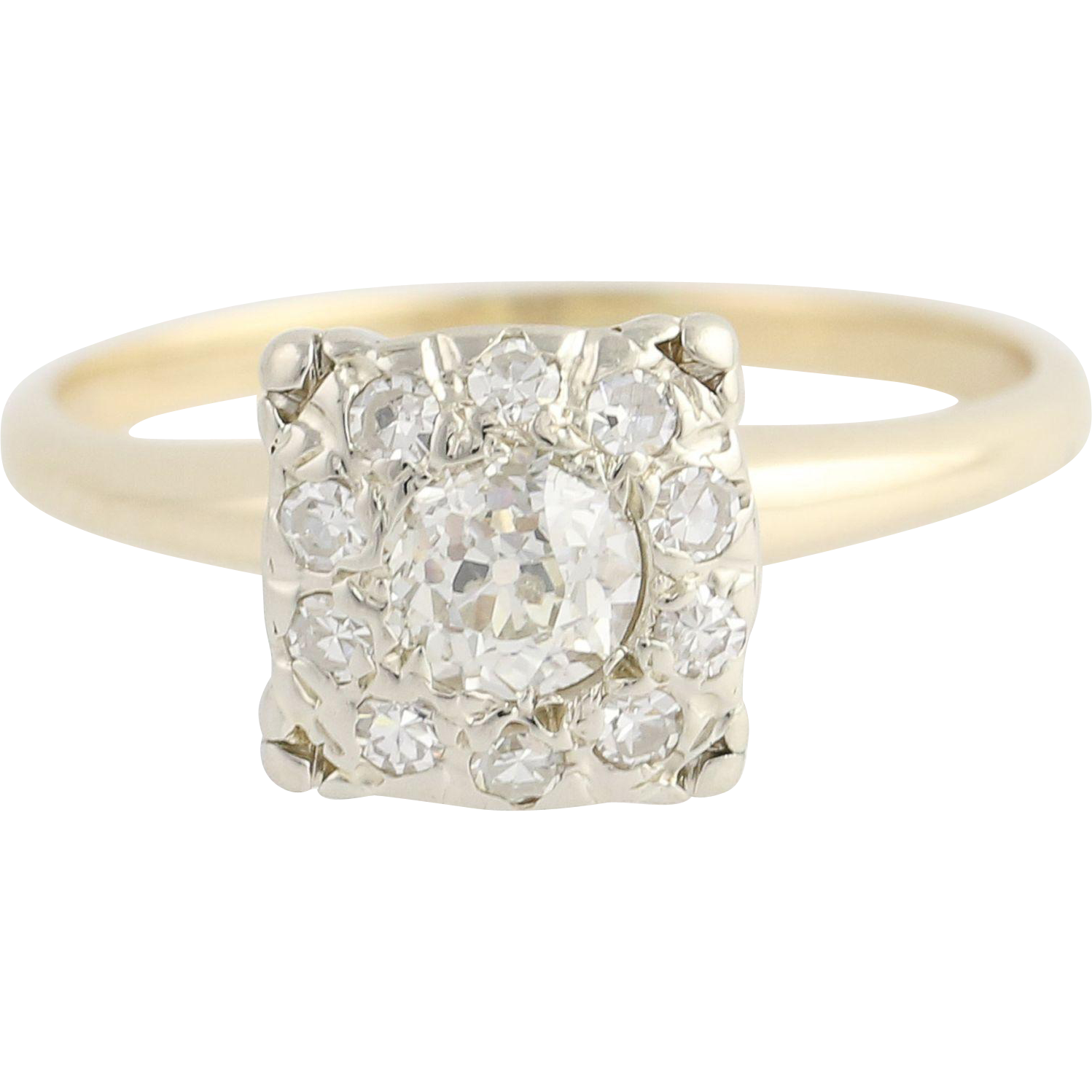 Vintage Diamond Engagement Ring - 14k White & Yellow Gold .60ctw