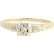 Art Deco Diamond Engagement Ring 14k Yellow White Gold Vintage Wedding Jewelry