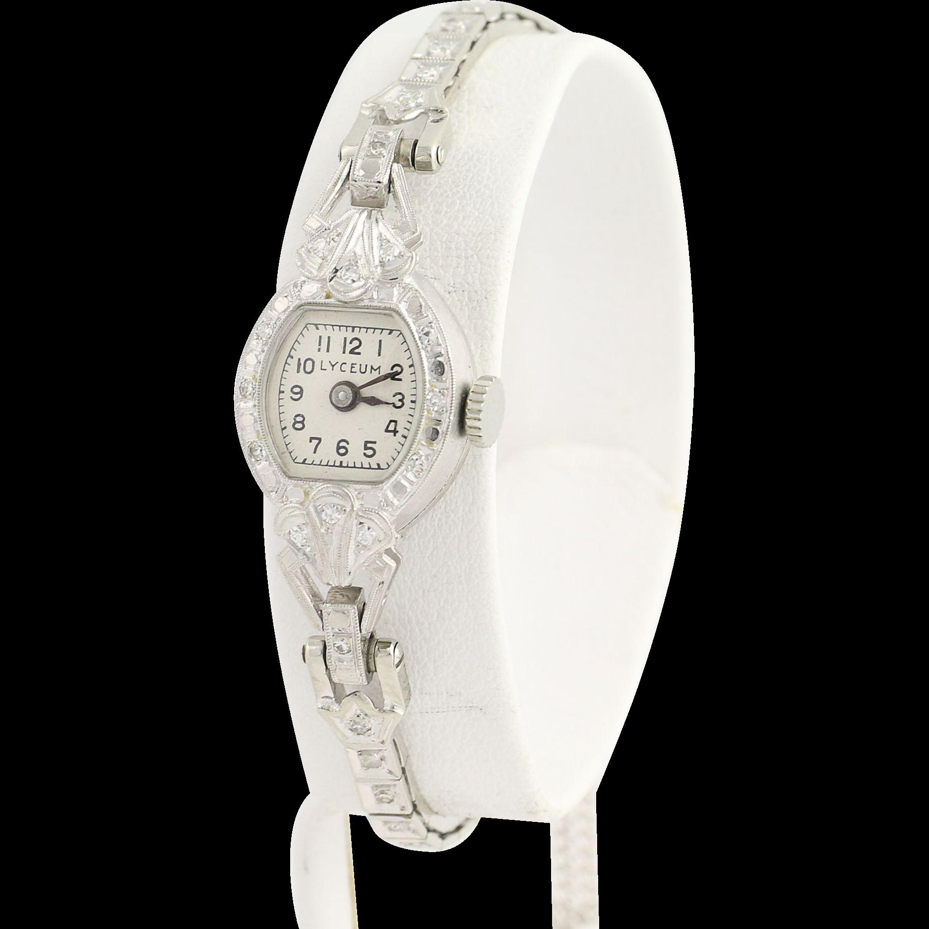 Vintage Lyceum Diamond Wristwatch - Platinum & 14k Gold 1950s Mechanical .30ctw