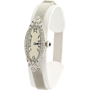 Art Deco Diamond Wristwatch - Platinum & 14k White Gold Mechanical .36ctw